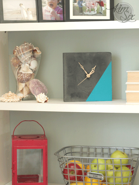 Teal color dipped clock from concrete