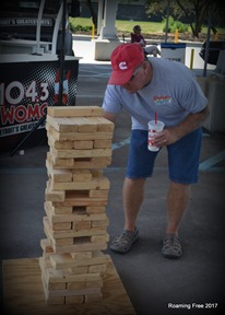 Trying his hand at Jenga