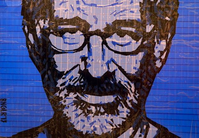 Сти́вен А́ллан Спи́лберг  bronya &  sonya benigeler  tape art portrait of Steven Allan Spielberg