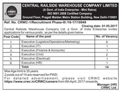 CRWC Careers 2017 www.indgovtjobs.in