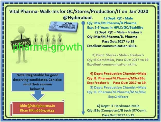 Vital Pharma - Walk in interview for Production, QC, Store, IT on Jan 2020