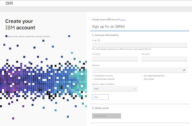 Create IBM account screen