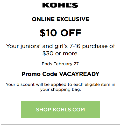 Kohls 10 off 30 coupon april 2018