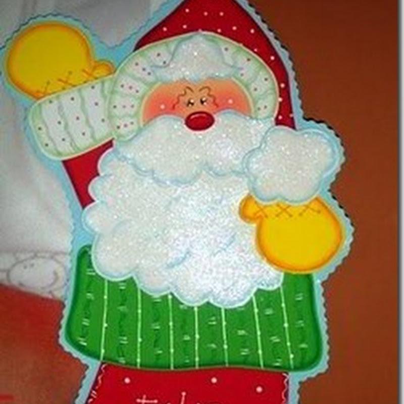 Hacer una Bota Navideña con Santa con moldes