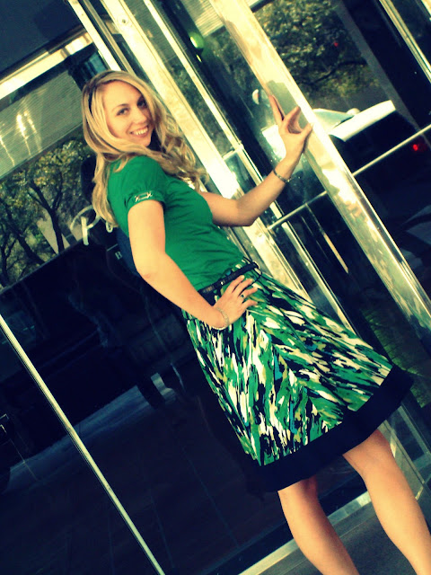 pairing a green shirt and a green skirt