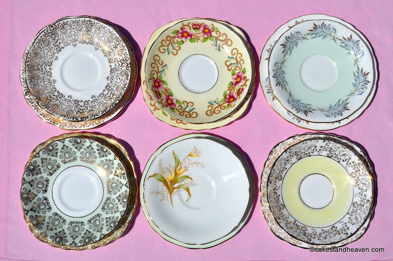 Mismatched tea set saucers