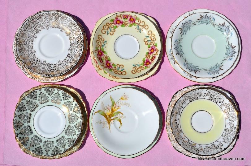 Mismatched tea set saucers