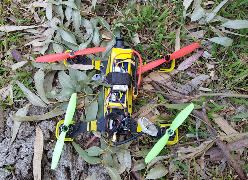 The quadcopter is out of the tree