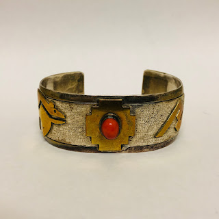 Sterling Silver and Vermeil Navajo Cuff Bracelet