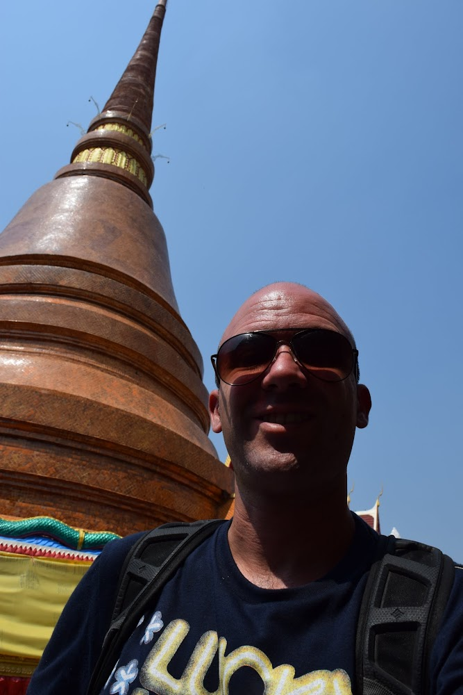 Next to the huge pagoda at Thaat Temple...