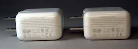 A real Apple iPad charger (left) and a counterfeit charger (right