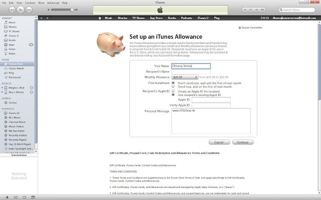 Buy Allowances in iTunes