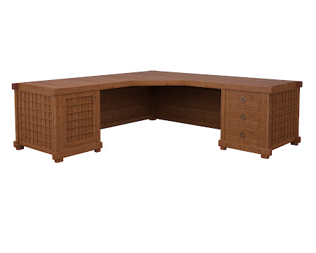 Tansu L-Shaped Desk in Itasca Maple