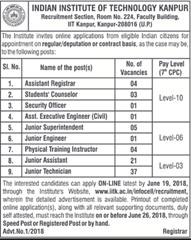 IIT Kanpur Notification 2018 indgovtjobs