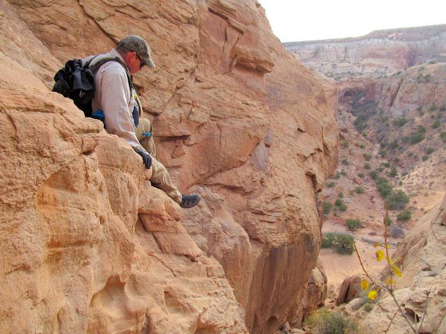 Climbing down a crack
