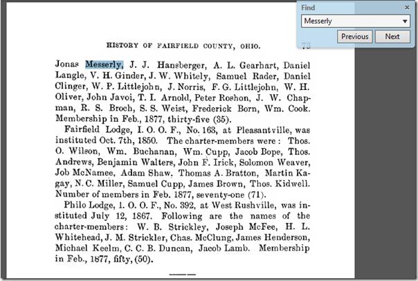 提到Jonas Messerly在俄亥俄州费尔菲尔德县的历史中