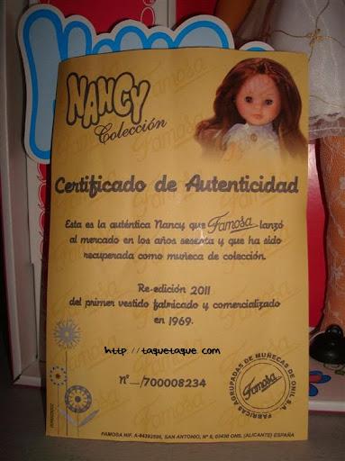 nancys de coleccion la primera Nancy 1968 certificado de autenticidad