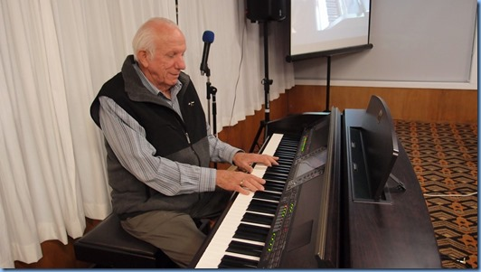 Our guest artist, Rob Powell. playing the Club's Yamaha Clavinova CVP-509. Photo courtesy of Dennis Lyons.