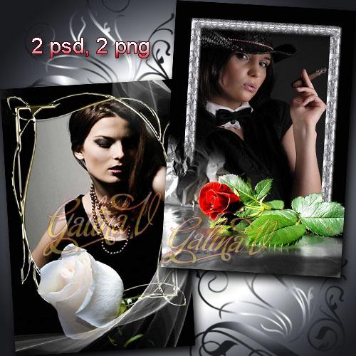 Стильные рамки - Красная и белая розы на чёрном