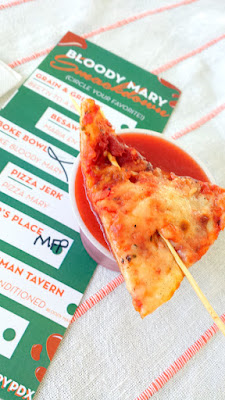 Portland Monthly Country Brunch 2016 - pizzas warmed in the oven and then serve as garnish for Pizza Jerk's Pizza Mary that has a slice of pizza chilling in a sauced up bloody mary