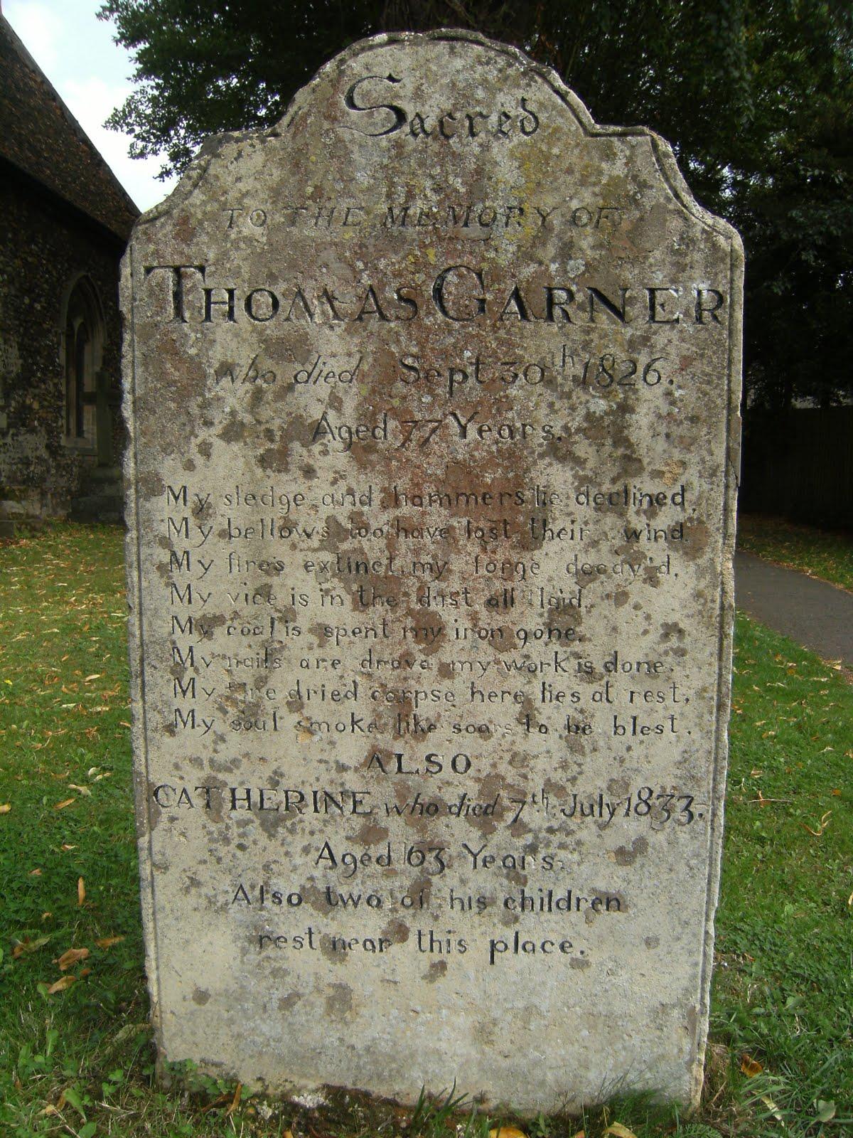 DSCF9467 Gravestone with blacksmith's epitaph, Houghton churchyard