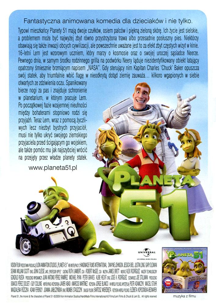 Ulotka filmu 'Planeta 51 (tył)'