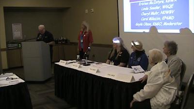 The YL Forum speaker panel included Kristen McIntyre, K6WX, Cheryl Muhr, NØWBV, Linda Souder, W6QE, and Violet Barrett, W6CBA.