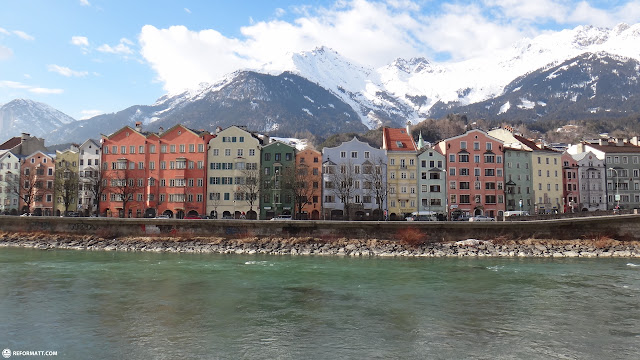 colored houses in innsbruck in Innsbruck, Tirol, Austria