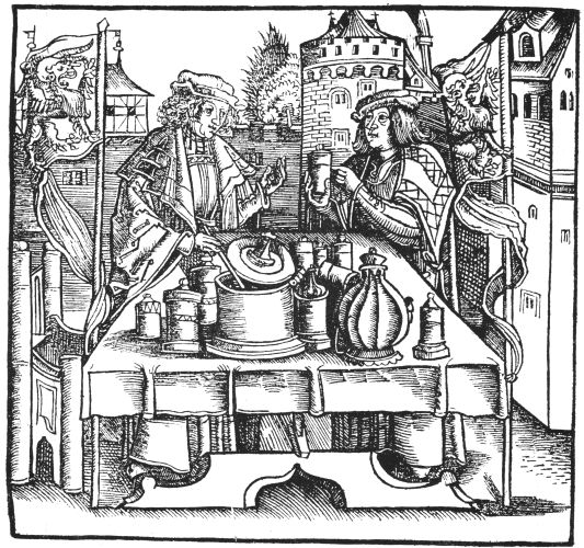 Woodcut Of Seller Of Theriac From Hieronymus Braunschweig 1500, Alchemical Apparatus