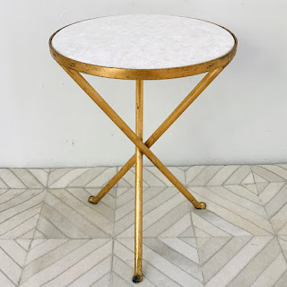 Campaign Style Stone-Top Accent Table