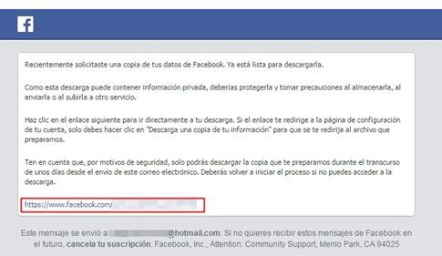 Link para descargar copia de Facebook desde el correo