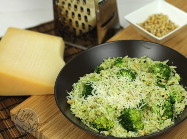 Broccoli Pesto on Orzo