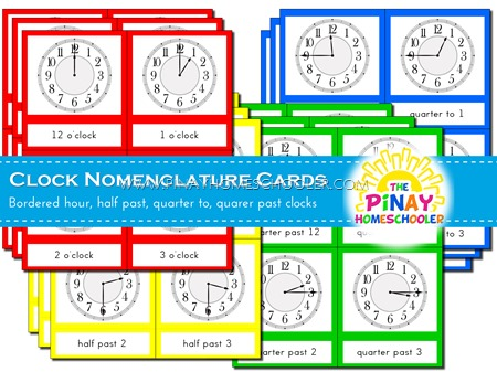 Clock Nomenclature Cards with Border