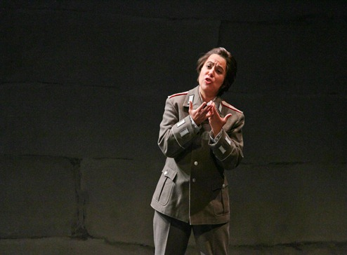 IN PERFORMANCE: Soprano MARIA KATZARAVA as Leonore in Opera Carolina's production of Ludwig van Beethoven's FIDELIO, October 2015 [Photo by Jon Silla, © by Opera Carolina; used with permission]