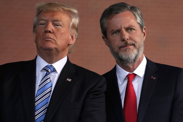 Trump and Jerry Falwell Jr. Falwell is a longtime Trump ally. Photo: Alex Wong / Getty Images