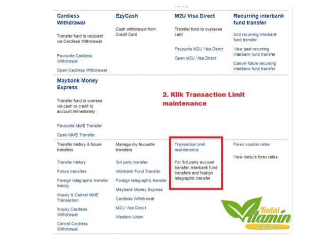 Cara Tukar Transaction Limit Maybank2u Vitamin Wawa Pengedar Shaklee Aktif