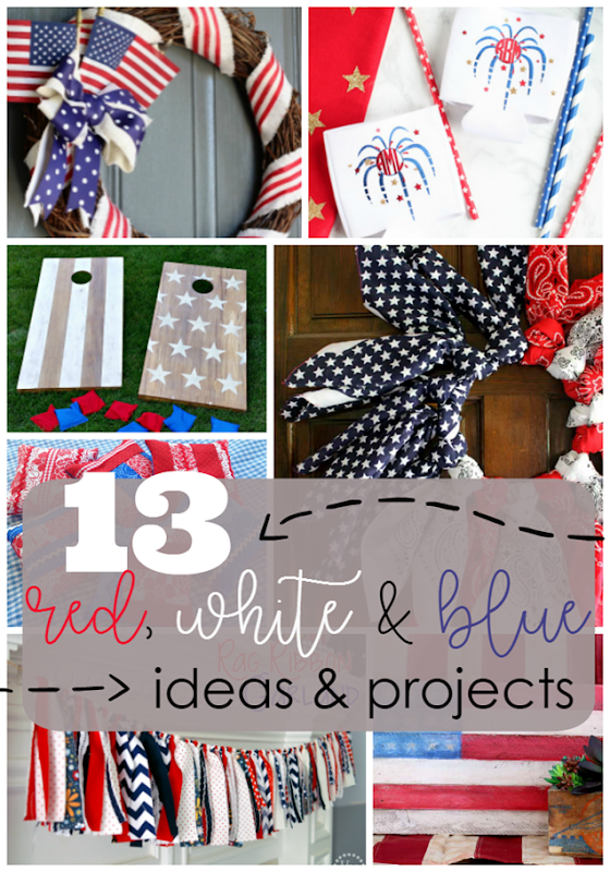 13 Red, White & Blue Ideas & Projects at GingerSnapCrafts.com #4thofJuly #patriotic #redwhiteandblue