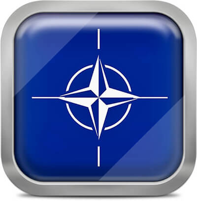 NATO square flag with metallic frame