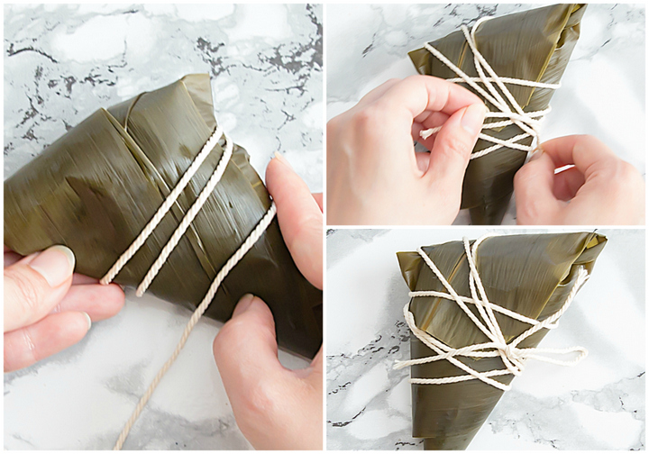 photo showing how to wrap the dumpling with twine
