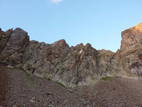 de gauche à droite Punta Plent, Punta Piencenza, Punta Bifida, Punta Innominata, Punta Ghigo, Piccolo Corno.