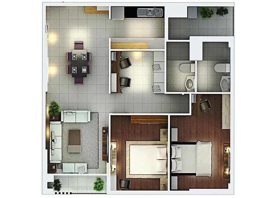 Phối cảnh 2D căn hộ 2 phòng ngủ DT: 96,54m2
