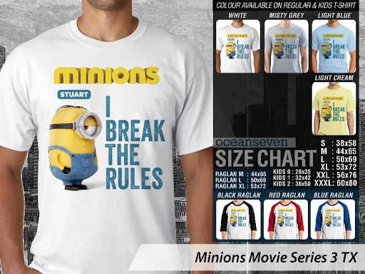 Kaos Kartun Minions Movie Series 3 distro ocean seven