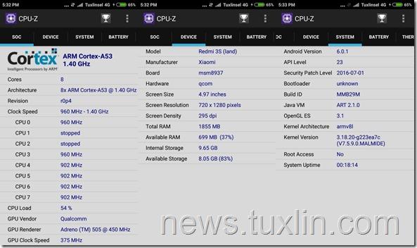 Benchmark Xiaomi Redmi 3S CPU-Z