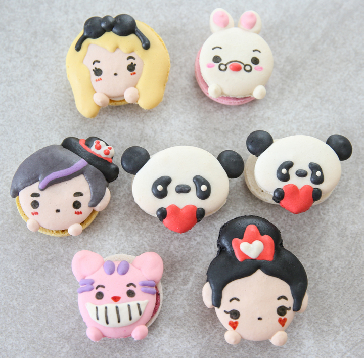 overhead photo of character macarons