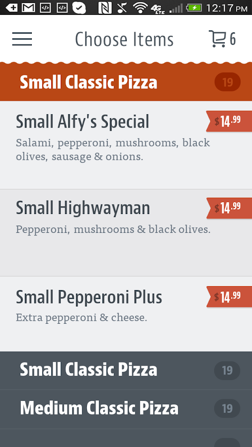 Alfy's Pizza- screenshot