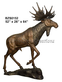 Bronze, Bull, Moose, Statue