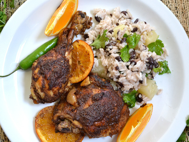 Island Rice Pilaf & Slow Cooker Jerk Chicken