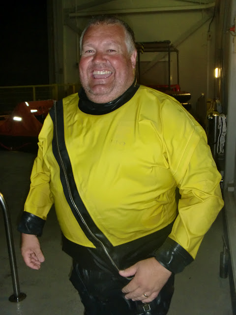 31 May 2012 - ALB Coxswain Jonathan Clark enjoying the thought of wearing a drysuit again when the new D class arrives! Photo: RNLI Poole/Dave Riley