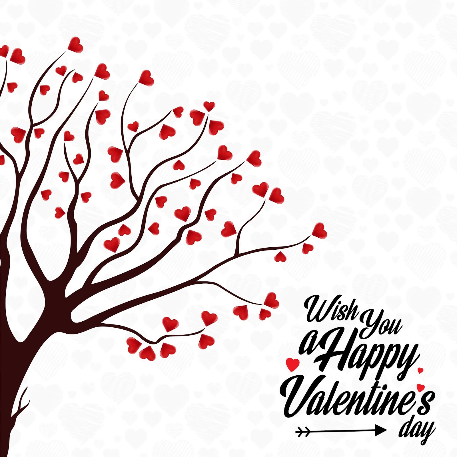 Wish You Happy Valentine S Day Heart Tree Free Download Vector CDR, AI, EPS and PNG Formats