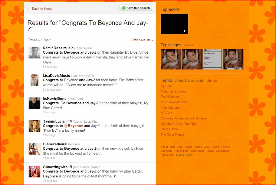 JayZ and Beyonce had baby girl Ivy Blue on Saturday, January 7, 2012